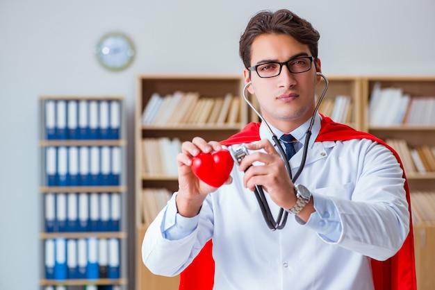 Superhero doctor working in the hospital lab Premium Photo