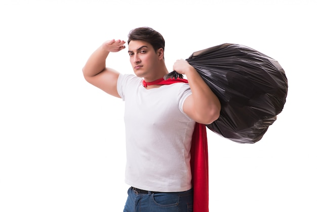 Superhero man with garbage sack isolated Premium Photo