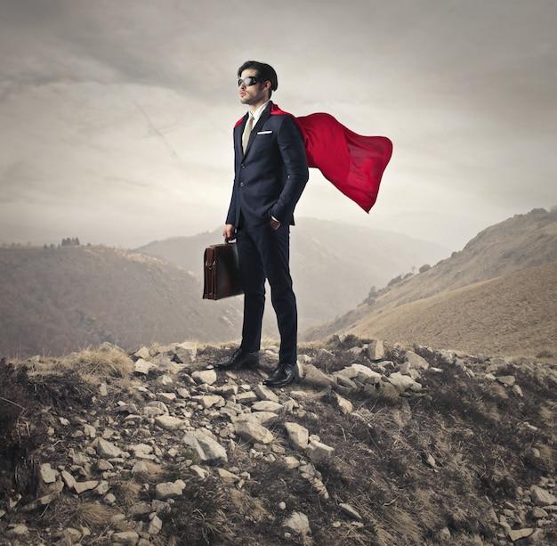 Superman power of a businessman Premium Photo