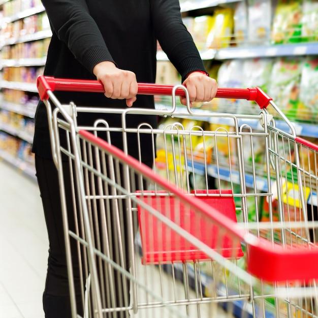Supermarket cart Premium Photo