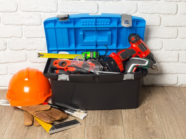 Support service concept. toolbox with tools Premium Photo