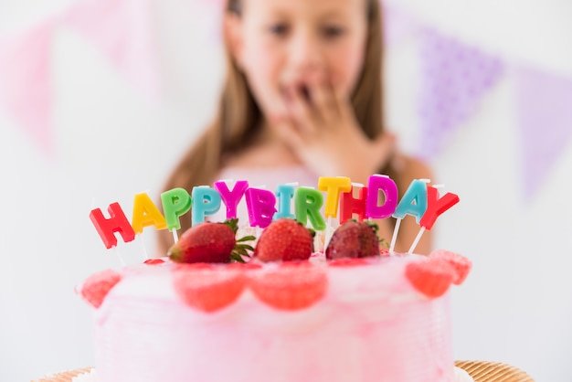 Strange Surprise Cute Girl Behind Delicious Strawberry Birthday Cake Funny Birthday Cards Online Overcheapnameinfo