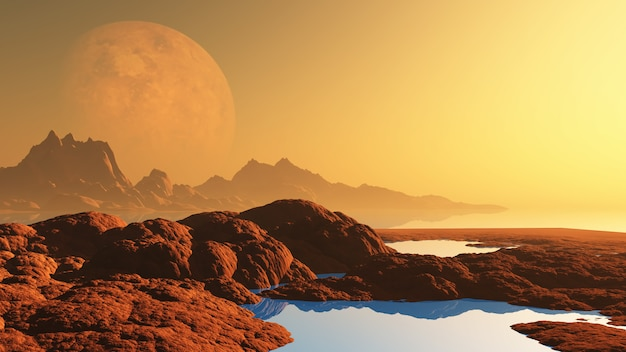 Surreal landscape with planet Free Photo