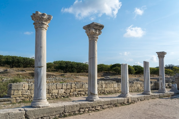 Surviving columns of basilica in chersonesos in the crimea. Premium Photo