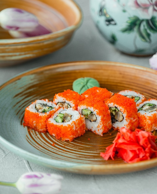 Sushi california with ginger and wasabi Free Photo