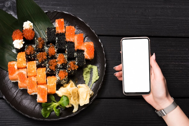 Sushi dish at asian restaurant Premium Photo