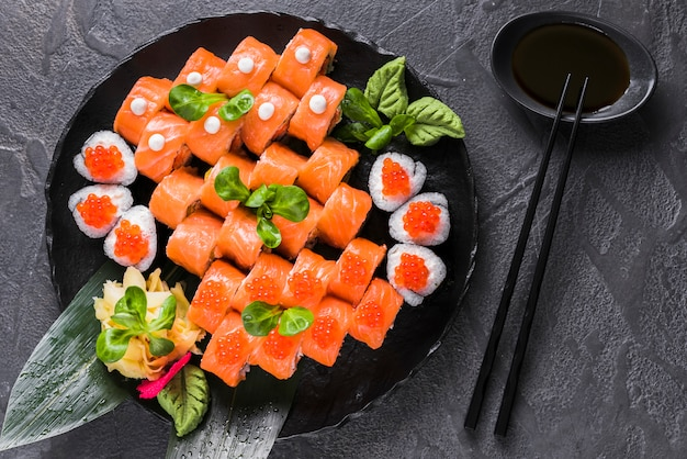 Sushi dish at asian restaurant Free Photo
