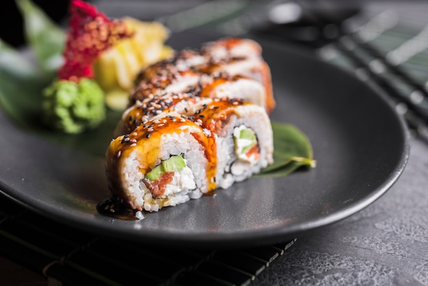 Sushi dish at asian restaurant Free Photo