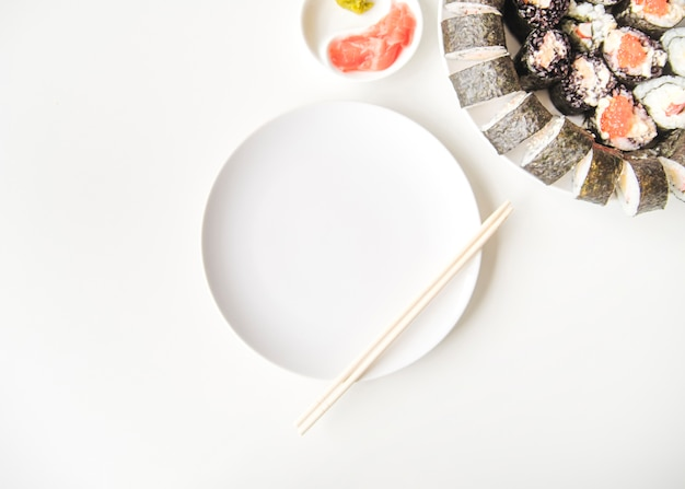 Sushi plate with copy-space Free Photo