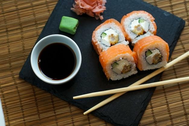 Sushi on a restaurant table Premium Photo