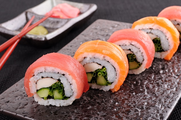 Sushi roll on a plate Free Photo