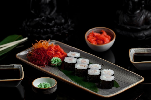 Sushi rolls wirh smoked salmon. Free Photo