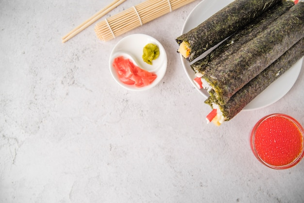 Sushi rolls with copy-space Free Photo