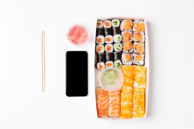 Sushi set rolls white background Premium Photo