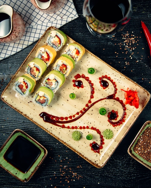 Sushi set with wasabi and ginger 8 Free Photo
