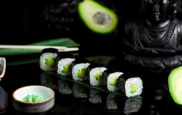 Sushi with avocado and rice and horseradish Free Photo