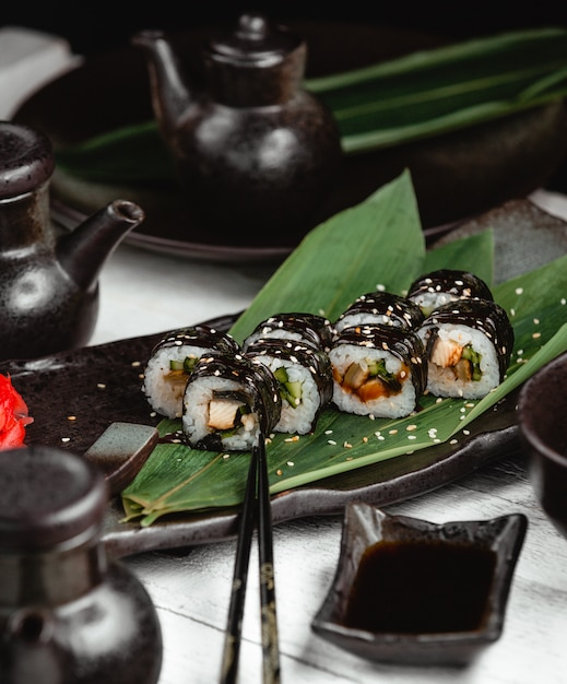 Sushi with rice fish and ginger Free Photo