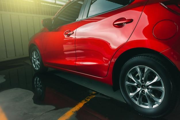 Suspension with rubber tires car. Premium Photo