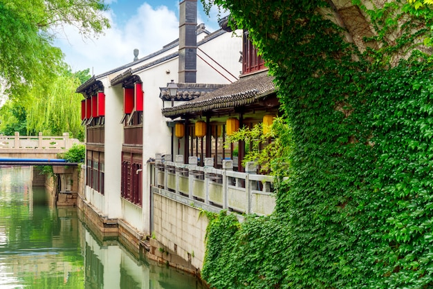 Suzhou ancient town night view Premium Photo