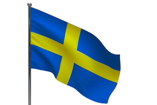 Sweden flag on pole. metal flagpole. national flag of sweden 3d illustration on white Premium Photo