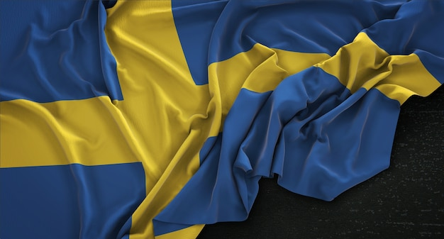 Sweden flag wrinkled on dark background 3d render Free Photo