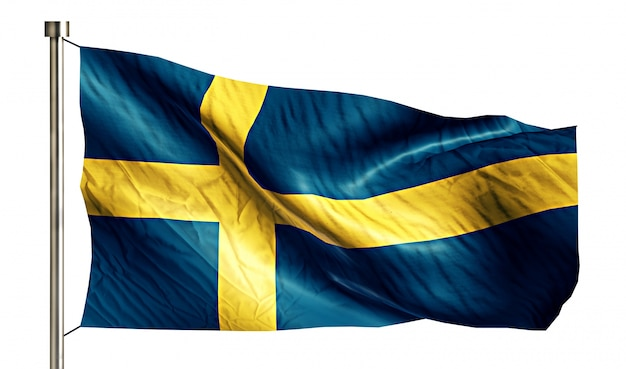 Sweden national flag isolated 3d white background Free Photo