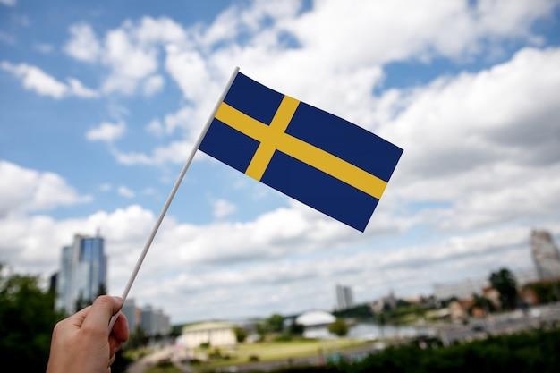 Swedish flag on blue sky Premium Photo