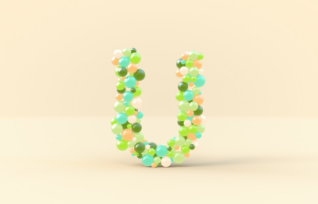 Sweet candy balls letter u Premium Photo