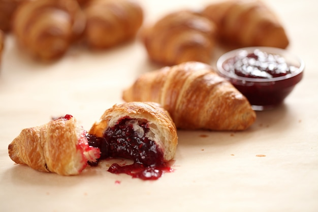 Sweet croissants with berries Free Photo
