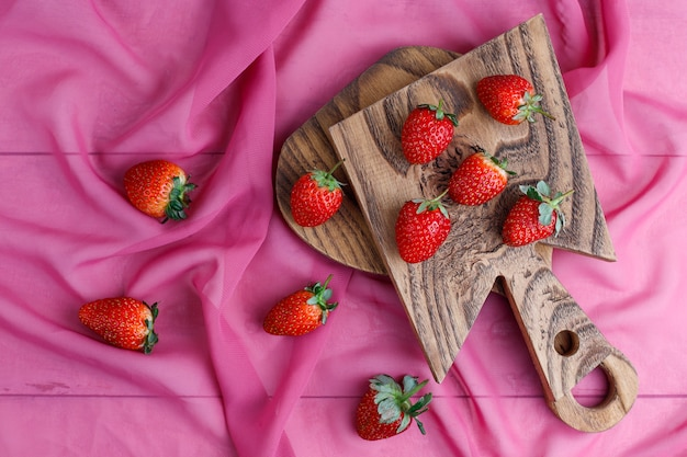 Sweet delicious strawberries , top view Free Photo