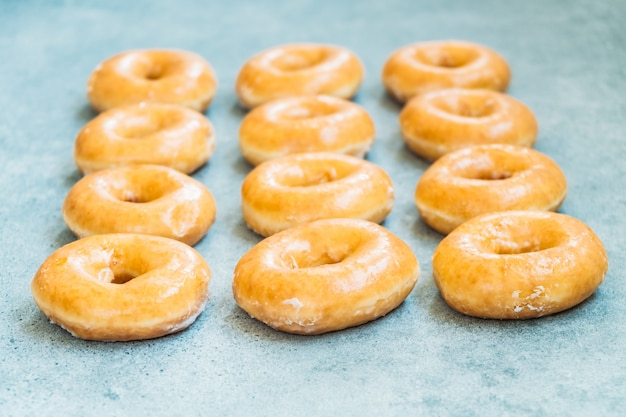 Sweet dessert with many donut Free Photo