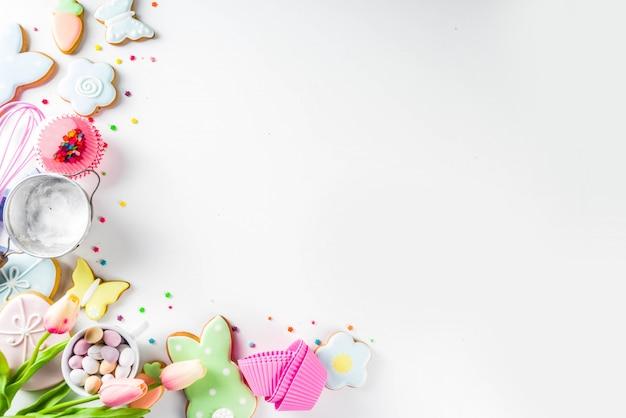 Sweet easter baking, top view Premium Photo