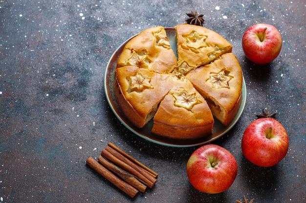 シナモンと甘い自家製アップルケーキ。 無料写真