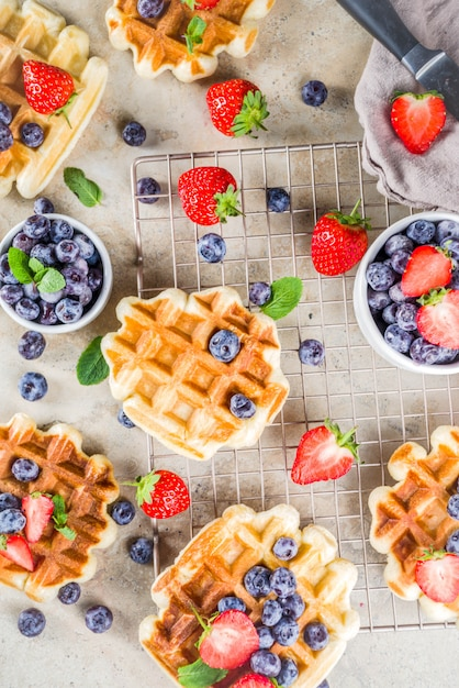 Sweet homemade belgian waffles with