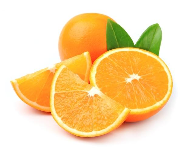 Sweet orange fruit with leaves Premium Photo
