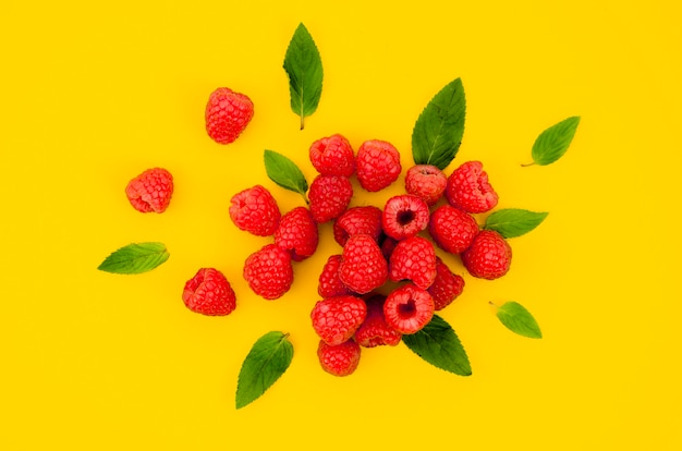 Sweet raspberries with leaves on bright surface Free Photo