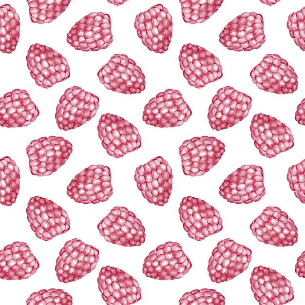 Sweet raspberry seamless pattern. watercolor illustration. Premium Photo