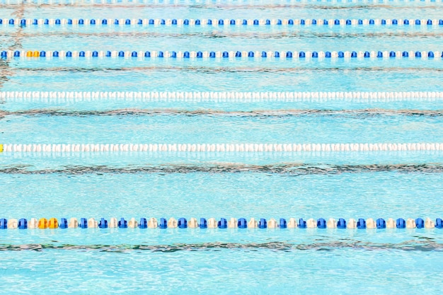 Swimming pool for competition with race tracks or lanes Premium Photo