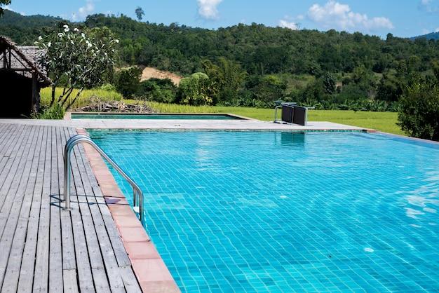 Swimming pool at the resort Premium Photo