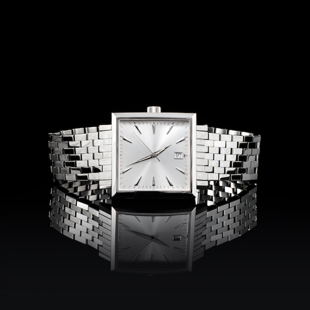 Swiss watches on black background Premium Photo