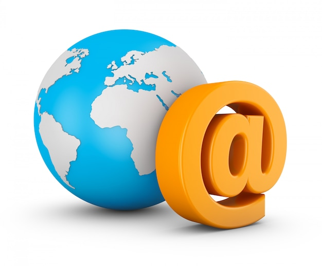 Symbol of e-mail and globe on white background. 3d rendering. Premium Photo