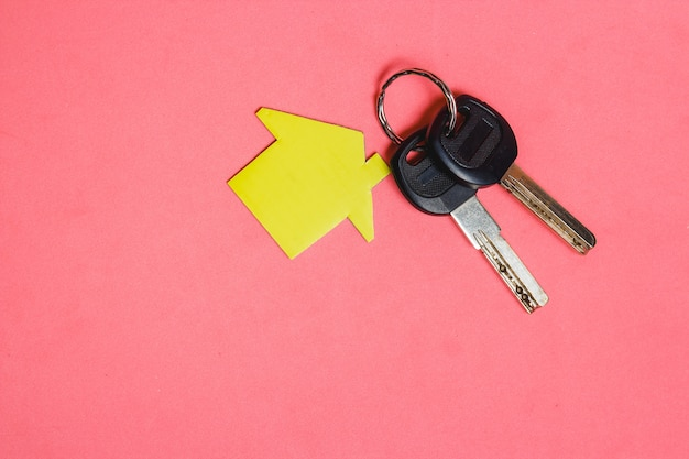 Symbol of house with two silver keys on pink background Premium Photo