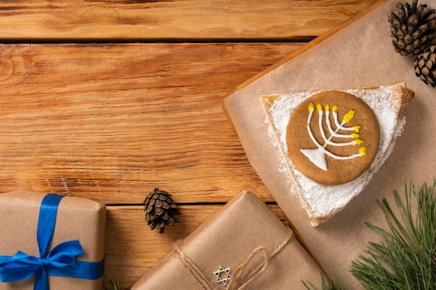 Символ на пирог традиционной еврейской концепции хануки Бесплатные Фотографии