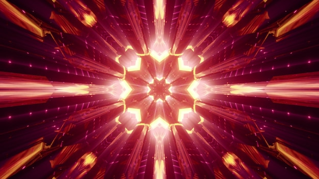 Symmetric abstract tunnel with crystal walls shining with red neon light Premium Photo
