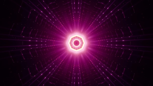 Symmetric bright pink beams surrounding octagon shaped ornament glowing neon light Premium Photo