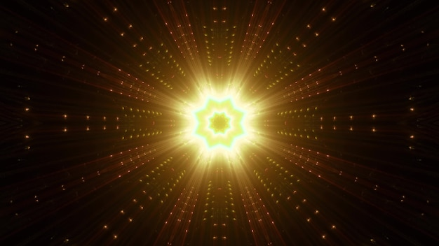 Symmetric golden star with vivid beams shimmering with neon light Premium Photo
