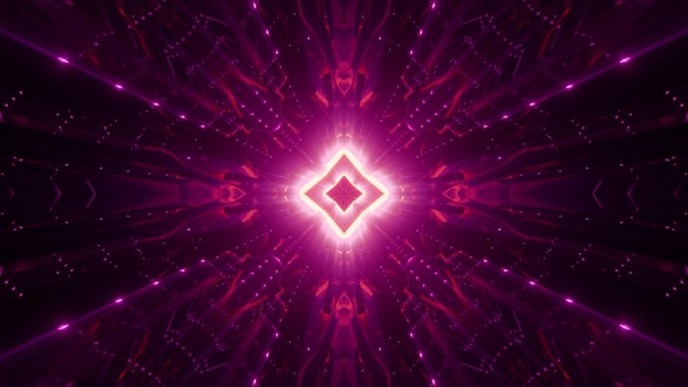 Symmetric rhombus and abstract ornament glowing with bright neon light Premium Photo