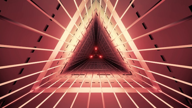 Symmetric triangle tunnel of red color with straight lines and neon illumination Premium Photo