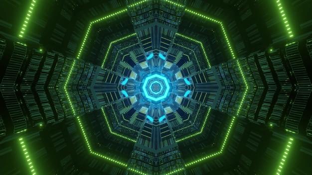 Symmetric vivid neon lights forming octagon shaped ornament inside tunnel Premium Photo