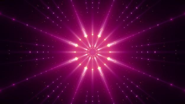 Symmetric vivid pink beams shining with neon light and illuminating darkness Premium Photo